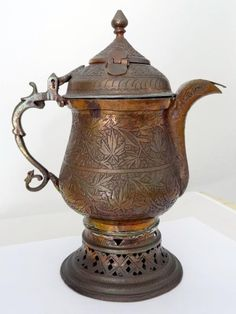 Antique ISLAMIC PERSIAN COFFEE POT of COPPER & BRASS Very Decorative & Intact