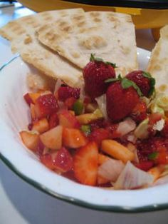 Strawberry-Apple Salsa With Cinnamon Chips