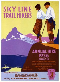 vintage travel poster for Canadian Pacific ~ mountain hikers 1936 Lake McArthur