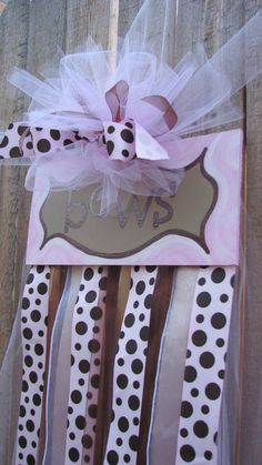 Light Pink and Brown Polka Dot & Tan Hair Bow Hanger!