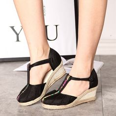 Chinese Style Femininio Casual Summer Sandals 2017 Hot Sale Fashion Women Shoes Wedges Espadrilles Thick Soled Cotton Hemp Shoes-in Women's Sandals from Shoes on Aliexpress.com | Alibaba Group