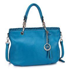 Bright Blue Authentic Leather Handbag Hobo Boston by Fungalicious, $123.00
