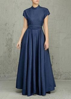 Zipper Back Denim Blue Maxidress – esshe Denim Maxi Dress, Belted Dress, Modest Dresses, Modest Outfits, Chitenge Dresses, Maxi Robes, Straight Dress, African Fashion Dresses, Muslim Fashion