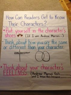 My class is currently doing a character study in Reading Workshop. They are working in partnerships and reading about the same character. Teaching Narrative Writing, Teaching Reading, Teaching Ideas, Ela Anchor Charts, Reading Anchor Charts, Third Grade Reading, Middle School Reading, Reading Lessons, Reading Skills