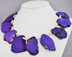 Purple Turquoise Pearl Necklace,Statement Necklace - 18.5 Inches Purple Turquoise Necklace With 5-6mm Pink Pearl(FN0420). $28.00, via Etsy.