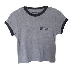 Cute AF Crop Tee (160 NOK) ❤ liked on Polyvore featuring tops, t-shirts, shirts, crop tops, crop tee, crop shirts, crop top, crop t shirt and shirts & tops