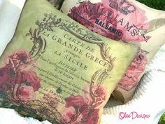 Pink Vintage French Postcard Pillow with Pink Fleur de Lis. Vintage Pink, French Vintage, Shades Of Green, Pink And Green, French Pillows, Paint Themes, Coaster Design, Cabbage Roses, Linens And Lace