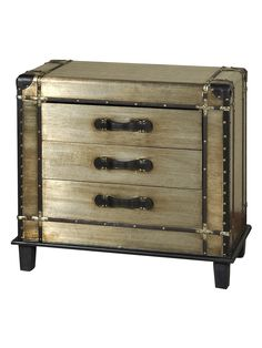 This vintage-inspired steamer chest accent piece is definitely one-of-a-kind! Finished with leather and brass pieces, it is a beautifully unique way to embody both form and function. 3 drawers for storage. Gold Office Supplies, Vintage Steamer Trunk, Accent Pieces, Storage Chest, Vintage Inspired, Drawers, Trunks, Silver, Furniture