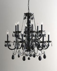 """2nd Floor /  Hanging In The Cherise Laundry Room / """"Grand Noir"""" Chandelier at Horchow."""