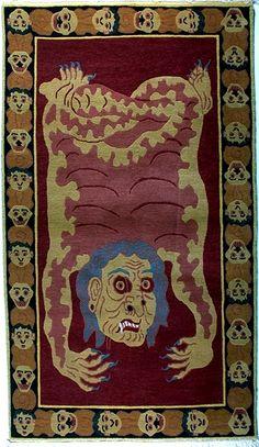 TIBETIAN BUDDHIST CARPETS | Tibetan Tantric Carpet, Hag - Tibetan Tiger Rugs, Beads, Buddhist ...