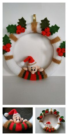 Crochet Christmas Wreath, Crochet Wreath, Crochet Christmas Decorations, Crochet Decoration, Christmas Crochet Patterns, Holiday Crochet, Xmas Wreaths, Christmas Crafts, How To Make Christmas Tree