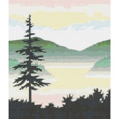 Lone Pine, Pine Tree, Tree, Landscape, Misty Mountains, Counted Cross Stitch Pattern, Xstitch
