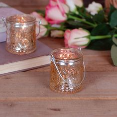 Gold Antique Glass Candle Holder Votive