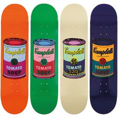 An exclusive collaboration between The Skateroom and Andy Warhol sees the brilliant Campbell's Soup Can expertly printed on the base of these quality Canadian maple wood skateboards.