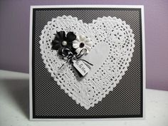 Handmade Wedding Card  Doily Heart Card by GGgreetings on Etsy, $3.50