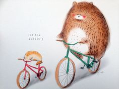 Mr Hammy and bear are riding together! Free shipping within Australia! : : : : w h a t  s i n c l u d e d : : : :  - Print of the original