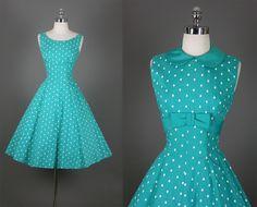 ~Vintage 50s Elegant New Look Shelf Bust Party Dress~