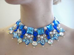 Blue and Crystal AB rhinestone collar statement necklace by Sparkle Beast Designs
