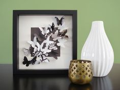 The Trend-setter - recycled paper butterfly shadow box