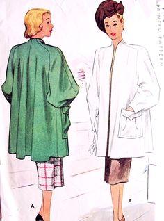 1940s DRAMATIC Joan Crawford Adrian Style Coat Pattern McCall 6796 Swing Film Noir Era Three Quarter Length High Fashion Lantern Sleeves Bust 32 Vintage Sewing Pattern