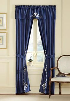 Blue and White Scrollwork Curtains Drapes