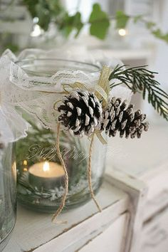 Decorated candle holder in mason jar (scroll down) | A molly production