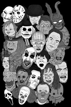 It's nice to see some different faces in a horror group-picture. Hello Frank, you cweepy wabbit. Horror Movie Tattoos, Horror Movie Characters, Horror Movie Posters, Horror Villains, Jason Freddy Krueger, Arte Punk, Horror Artwork, Horror Icons, Classic Horror Movies