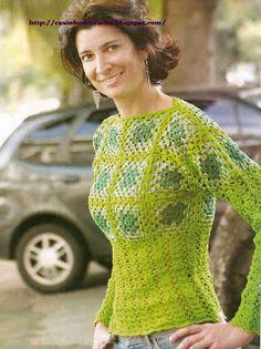 *♥*´¯`* Casinha de Croché *´¯`*♥*: Blusa em tons de verde