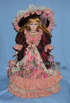 "Victorian Collection Genuine Porcelain Doll | 20"" Porcelain Victorian Doll (A587A) - China doll, porcelain"