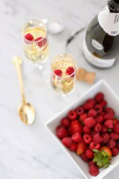 Champagne + fruit.