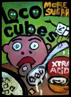 LOCO CUBES acrylic on canvas mock ad Gregory McLaughlin $80.00