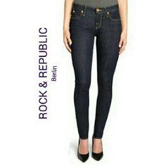 """🆕 ROCK & REPUBLIC SKINNY JEANS 🆕 ROCK & REPUBLIC BERLIN SKINNY JEANS Dark Blue w/red accents on back pockets Size 2 Waist 24"""" Length 35"""" 100% cotton Rock & Republic Jeans Skinny"""