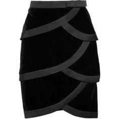 Valentino Satin-trimmed tiered silk-velvet skirt