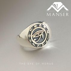 cad designed and cast silver eye of Horus ring with black detailing Family Crest Rings, Eye Of Horus, Class Ring, Jewelry Making, Wedding Rings, Engagement Rings, Jewels, 3d, Silver