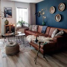 60 modern bohemian living room inspiration ideas 02 ~ Design And Decoration - Wohnzimmer - Home Living Room Sofa, Living Room Interior, Blue Living Room Walls, Blue And Brown Living Room, Living Room Decor With Brown Sofa, Living Room With Color, Apartment Living, Cozy Apartment, Room Wall Colors
