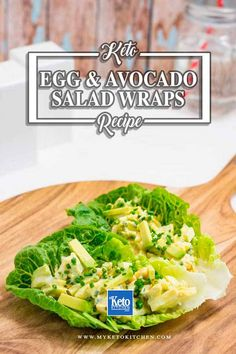Our Keto Egg and AVocado salad lettuce wraps are a quick and easy lunch or dinner dish. They're loaded with healthy fats from eggs and avocado. They're a tasty, low-carb and gluten-free dish. Keto Egg Salad, Avocado Egg Salad, Avocado Salat, Keto Avocado, Wrap Recipes, Keto Recipes, Healthy Recipes, Side Recipes, Sin Gluten