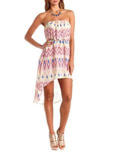 digital chevron strapless high-low dress
