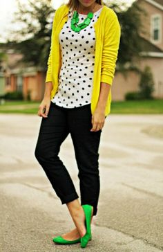 Perfect yellow sweater, polka dot shirt and jeans