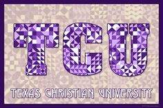 The Quilted Texas Christian University.  Susan Davis, owner of Olde American Antiques and American Quilt Blocks, has created a series of original quilt block designs for universities and colleges in the United States.   Each of these designs is unique with a distinct color combination using the school colors and a matching border to enhance the overall pattern. These are the first quilt block designs created specifically for universities and colleges and are new to the quilting hobby.