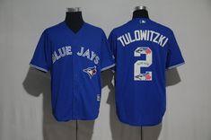 7d845e5e0 Blue Jays 2 Troy Tulowitzki Blue Team Logo Print Cool Base Jersey Troy  Tulowitzki