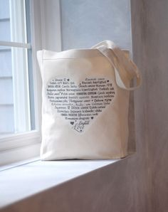 LOVE Languages - Tote Bag - Gray on Natural - Cotton Canvas Book Bag by BucktoothedBunny on etsy $16