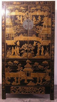 Chinese Antique SanXi Cabinet with Mothers and Children