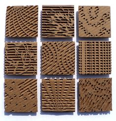 Cardboard relief sculpture focused on pattern and texture. Middle or high school art project. Cardboard Sculpture, Cardboard Crafts, Paper Crafts, Cardboard Painting, Cardboard Design, Elements And Principles, Elements Of Art, Cardboard Relief, Middle School Art