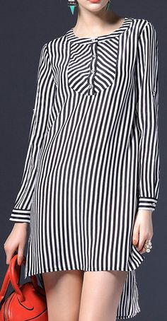 Striped Silk Shirt Dress