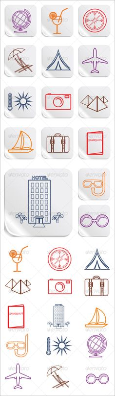 Tourism And Hotel Web Button Icons Set