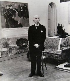 Norwegian Painter and Printmaker, Edvard Munch in his studio.