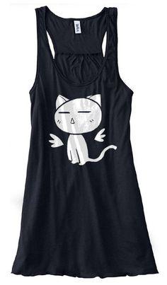 Kawaii Angel Kitty Ladies Flowy Tank Top cute by gesshokudesigns, $32.00