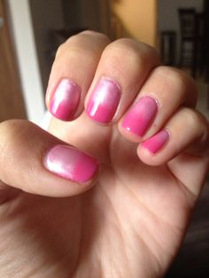 Cnd shellac in hot pop pink with light pink additives, Barbie nails