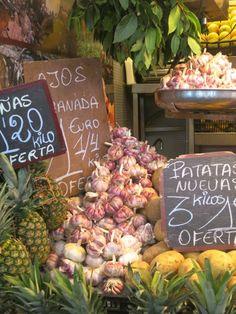 Beautiful garlic found at the Atarizanas central market in Malaga, Spain.