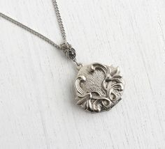 Vintage Flower Locket Necklace - Art Nouveau Style Silver Tone Pendant Heart Costume Jewelry / Flowing Floral by Maejean Vintage on Etsy, $24.00